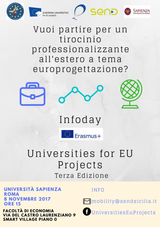 Mercoledì 8 novembre infoday borse di mobilità internazionale Erasmus sulla progettazione europea