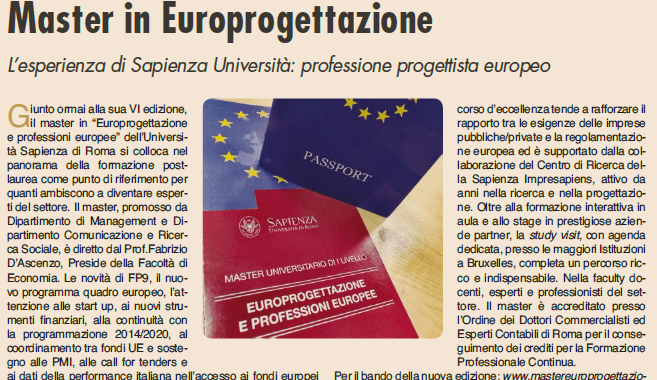 Master in Europrogettazione. L' articolo del Sole 24 ore